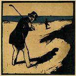 1898_nicholson_12sports10_7.75x7.75_dlw, October Golf, William Nicholson, Nicholson, Beggarstaff, An Almanac of Twelve Sports, 1898, Lithograph, Gallery East, Gallery East Network