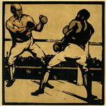 1898_nicholson_12sports11_7.75x7.75_dlw, November Boxing, William Nicholson, Nicholson, Beggarstaff, An Almanac of Twelve Sports, 1898, Lithograph, Gallery East, Gallery East Network